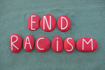 Gray background with red and white letters that say 'End Racism'